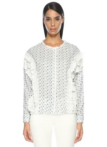 Sister Jane Fırfırlı Desenli Bluz Beyaz